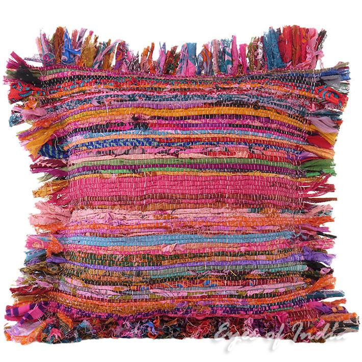 Pink Chindi Rag Rug Decorative Pillow Throw Sofa Cushion Cover Case Couch Bohemi