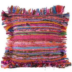 Pink Chindi Rag Rug Decorative Pillow Throw Sofa Cushion Cover Case Couch Bohemi