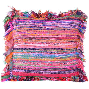 Pink Chindi Rag Rug Decorative Pillow Throw Sofa Cushion Cover Case Couch Bohemian Accent Indian Colorful Boho Chic Handmade