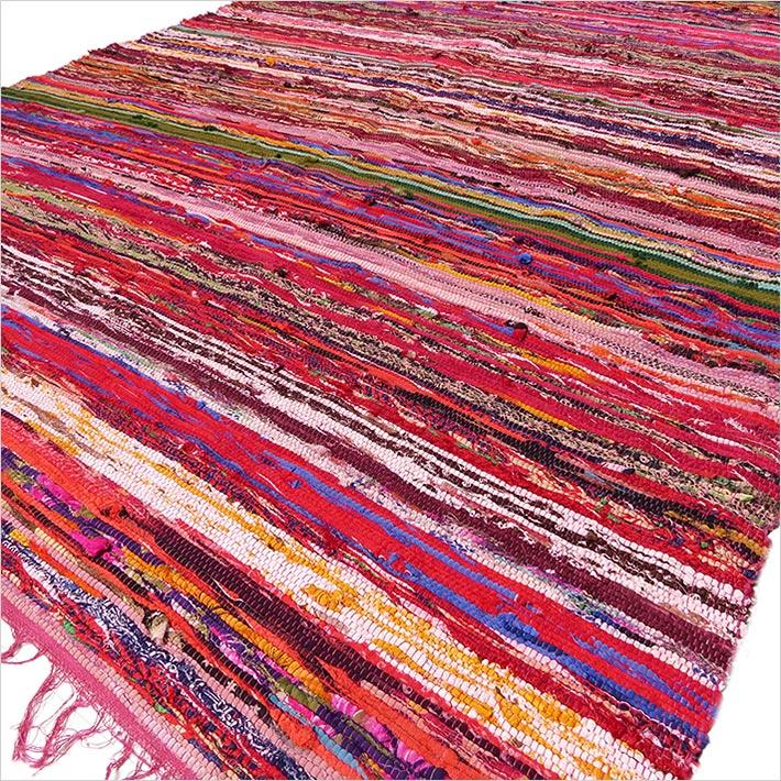 Red Burgundy Colorful Woven Boho Bohemian Tassel Chindi Rag Rug