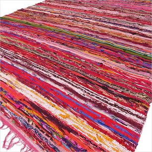 Red Burgundy Colorful Woven Boho Bohemian Tassel Chindi Rag Rug