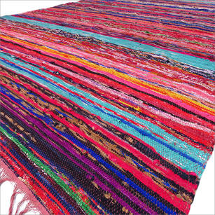 Brown Colorful Woven Boho Decorative Chindi Rag Rug