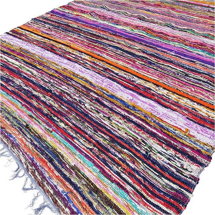 Blue Chindi Rag Rug Colorful Woven Decorative Bohemian Boho