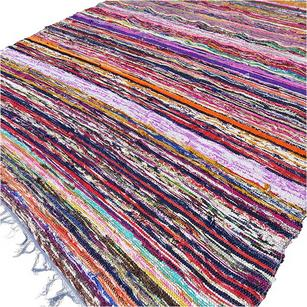 Blue Chindi Rag Rug Colorful Woven Decorative Bohemian Boho