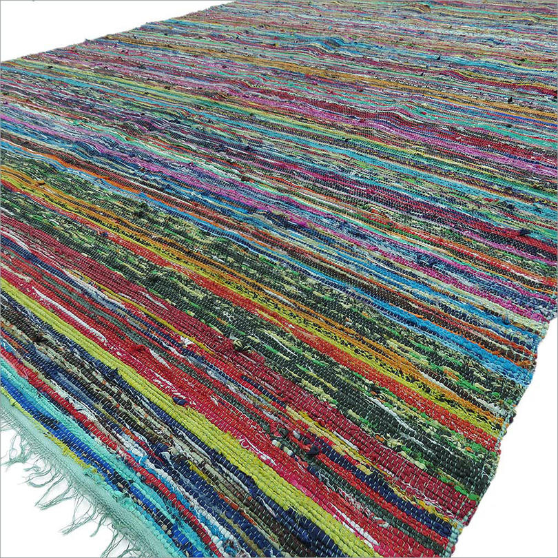 Green Woven Bohemian Decorative Boho Chindi Colorful Rag Rug