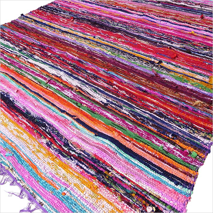 Purple Bohemian Colorful Woven Chindi Area Rag Rug Boho