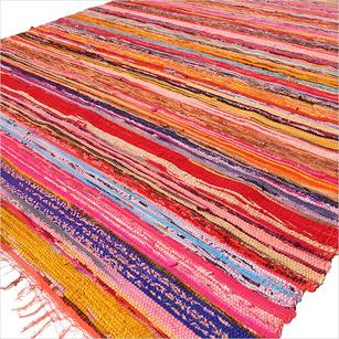 Red Boho Bohemian Hippie Colorful Woven Decorative Rag Rug