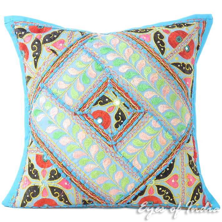 """Blue Patchwork Colorful Decorative Couch Sofa Pillow Cover Case Cushion - 16"""""""