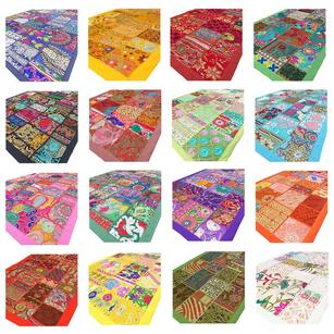 """Lot 10 Pieces 20 X 40"""" Colorful Patchwork Runner Tapestry Wall Hanging Bohemian Accent Indian Boho Chic Decorative Handmade"""