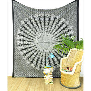 Black White Mandala Hippie Tapestry Boho Bedspread Bohemian Wall Hanging - Large/Queen