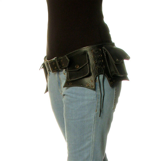Black Leather Pocket Belt Bag Hip Waist Fanny Bum Travel Pouch