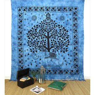 Large Queen Blue Indian Hippie Mandala Elephant Tree Life Tapestry Bedspread Bea