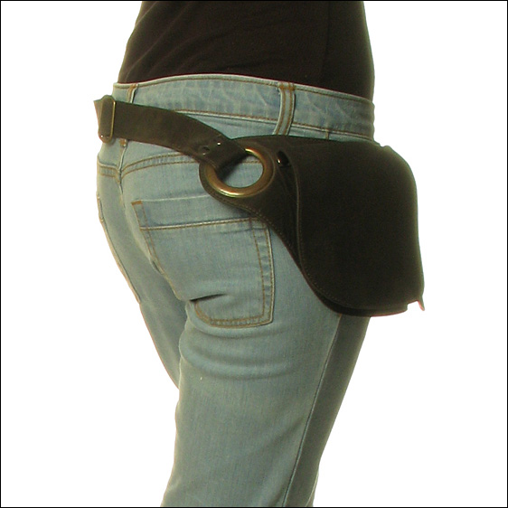 Black Or Brown Leather Hip Pocket Belt Bag Cross Body