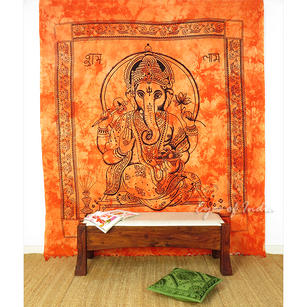 Elephant Hippie Mandala Ganesha Tapestry Boho Bedspread Wall Hanging - Queen/Double