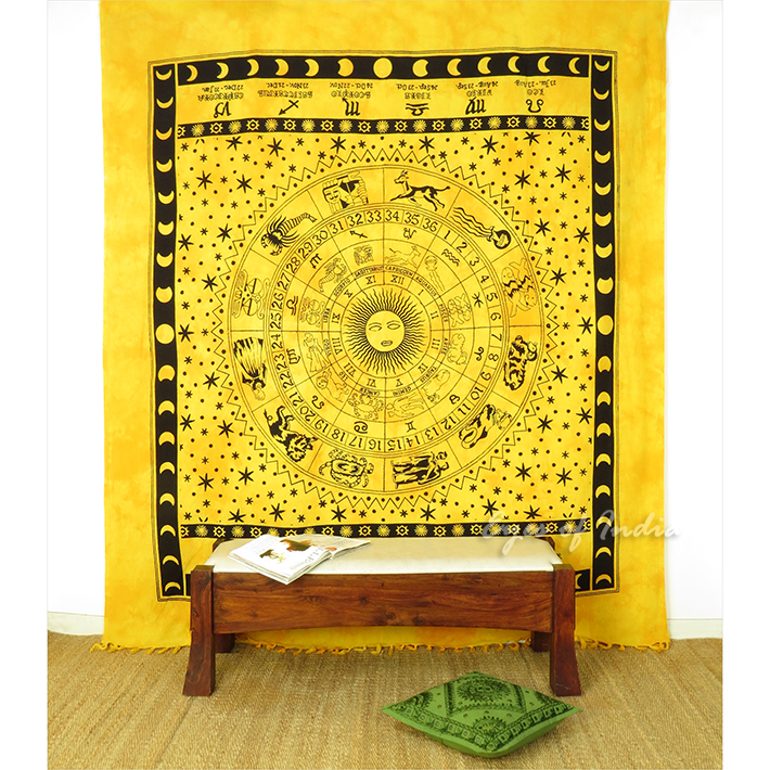 Mandala Zodiac Horoscope Tapestry Bohemian Wall Hanging Bedspread - Large/Queen