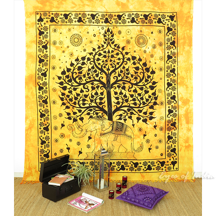 Elephant Hippie Tree of Life Boho Tapestry Wall Hanging Bedspread - Queen/Double
