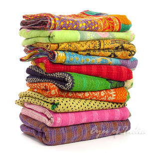 Colorful Vintage Reversible Kantha Quilt Throw Tapestry Bedspread - Twin/Single