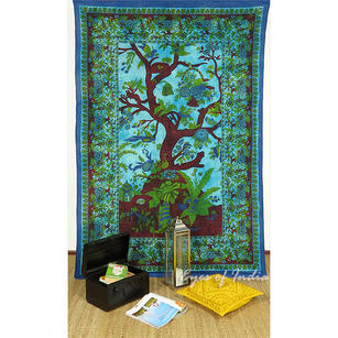 Tree of Life Bedspread Bohemian Boho Tapestry Hippie Wall Hanging - Small/Twin