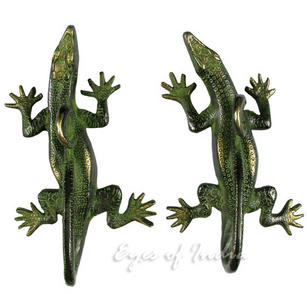 Pair of Brass Lizard Animal Door Handles Handmade Cabinet Door Pulls - 8""