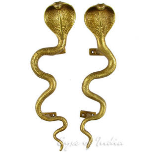 Pair of Brass Snake Cobra Animal Door Handles Handmade Cabinet Pulls - 12""