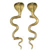 "Pair of Brass Snake Cobra Animal Door Handles Handmade Cabinet Pulls - 12"" 1"