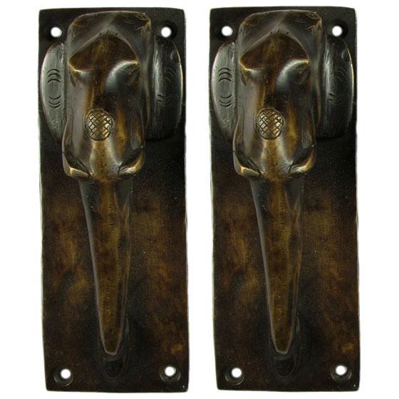 "Pair of Brass Elephant Cabinet Pulls Handmade Animal Door Handles - 7"""