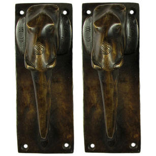 Pair of Brass Elephant Cabinet Pulls Handmade Animal Door Handles - 7""