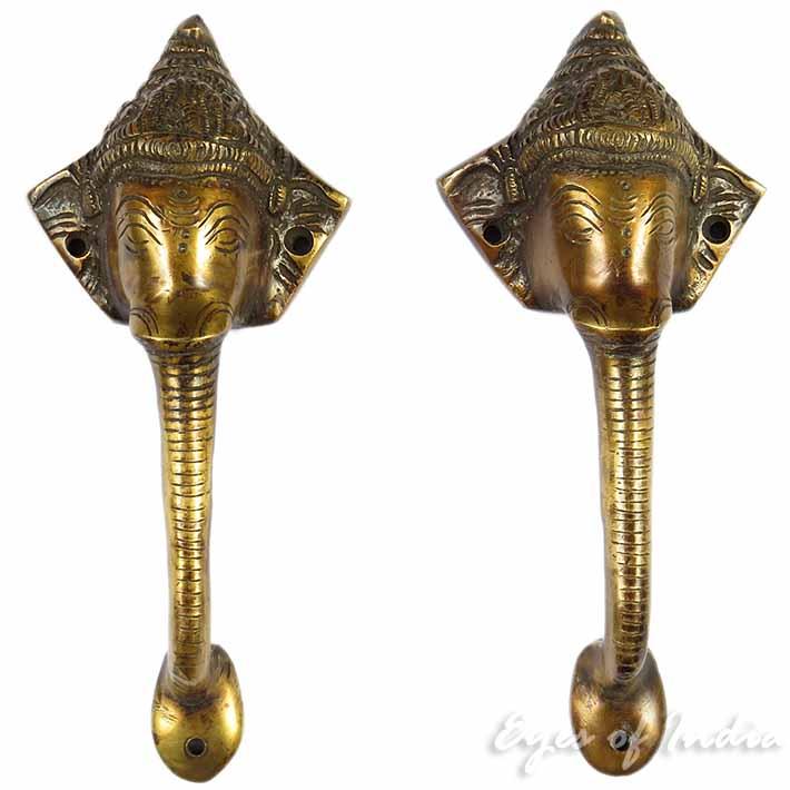 "Pair of Brass Ganesha Elephant Cabinet Pulls Handmade Door Handles - 9"""