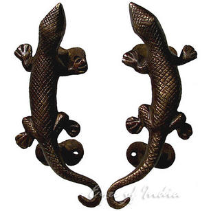 Brass Lizard Animal Wall Hooks Hangers Coat Key Rack - 5""