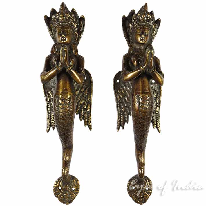 Pair of Brass Naga Serpent Cabinet Pulls Handmade Door Handles - 12""