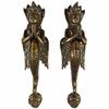 "Pair of Brass Naga Serpent Cabinet Pulls Handmade Door Handles - 12"" 1"