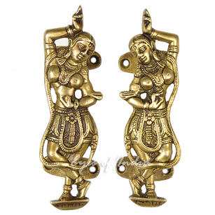 Pair of Brass Dancer Door Handles Handmade Cabinet Pulls - 6""