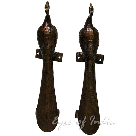 Pair of Brass Peacock Animal Door Handles Handmade Cabinet Pulls - 9""