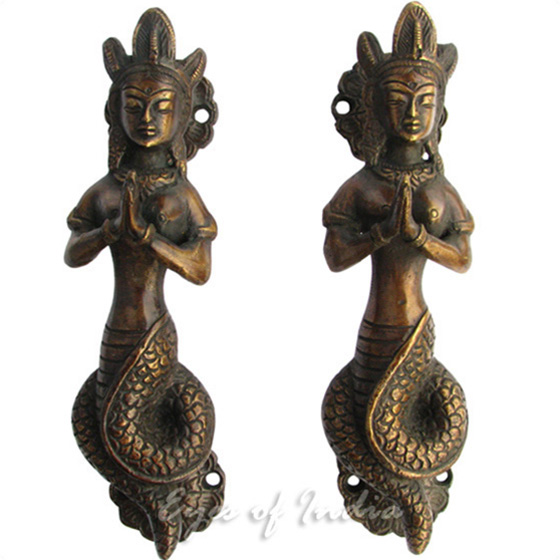 Pair of Brass Naga Serpent Cabinet Pulls Handmade Door Handles - 7""