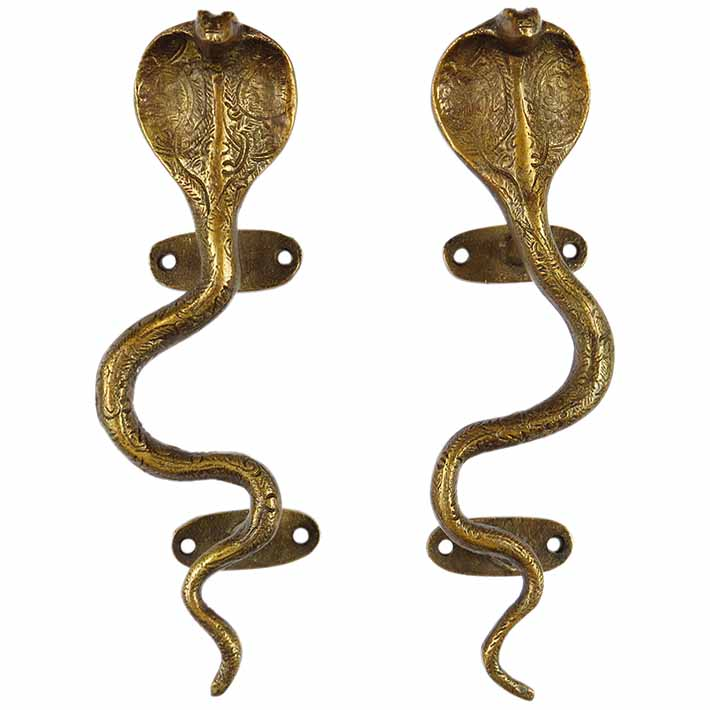 "Pair of Brass Snake Cobra Animal Door Handles Handmade Cabinet Pulls - 9"""