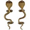 "Pair of Brass Snake Cobra Animal Door Handles Handmade Cabinet Pulls - 9"" 1"