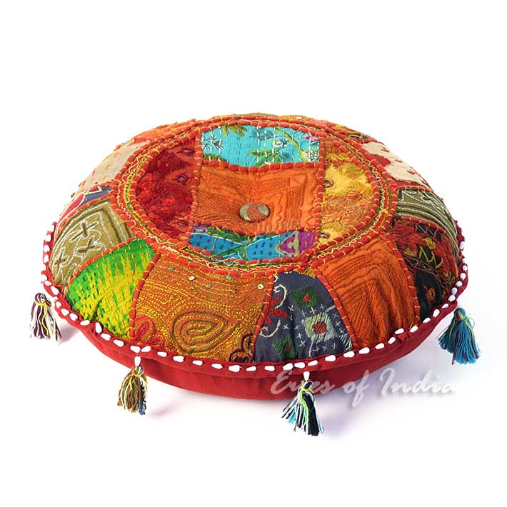 Red Bohemian Patchwork Round Decorative Seating Boho Colorful Floor Meditation Cushion Pillow Cover - 17""