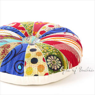 Colorful Boho Vintage Kantha Bohemian Round Floor Seating Pillow Meditation Cushion Throw Cover - 22""