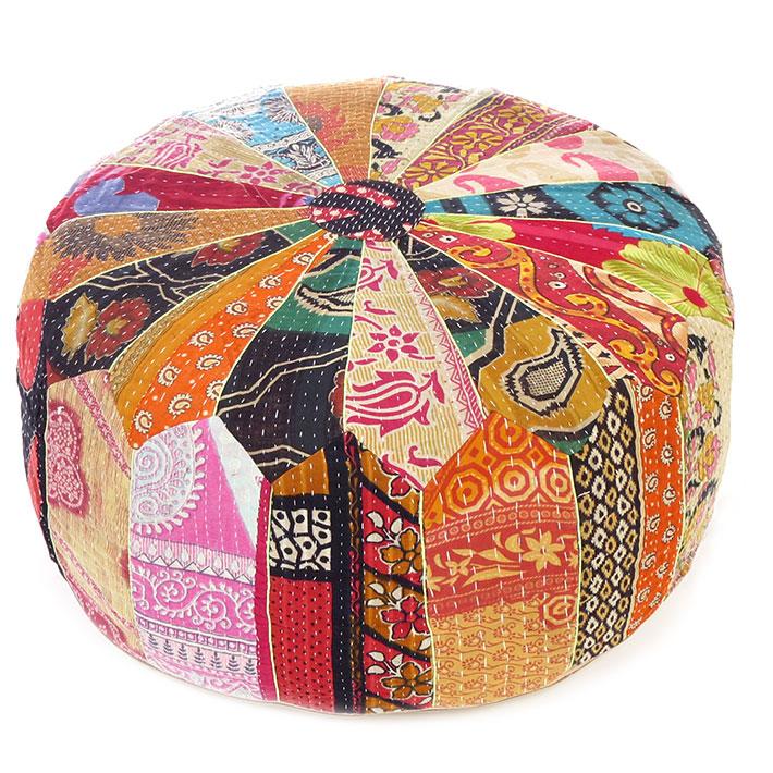 """Large Vintage Kantha Round Pouf Pouffe Boho Bohemian Ottoman Cover - 24 X 10"""""""