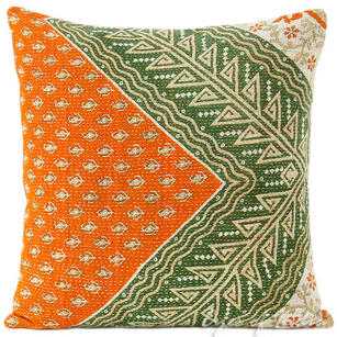 Colorful Kantha Decorative Sofa Throw Pillow Bohemian Boho Couch Cushion Cover - 16""