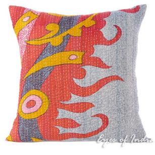 Colorful Kantha Decorative Boho Bohemian Pillow Couch Cushion Throw Cover - 20""