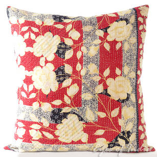 Colorful Kantha Couch Cushion Decorative Boho Bohemian Throw Pillow Cover - 24""