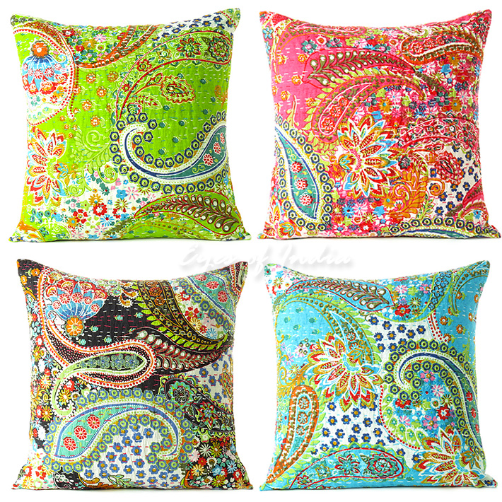 Kantha Paisley Colorful Decorative Bohemian Sofa Throw Pillow Boho Couch Cushion Cover - 16""