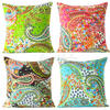"Kantha Paisley Colorful Decorative Bohemian Sofa Throw Pillow Boho Couch Cushion Cover - 16"" 1"