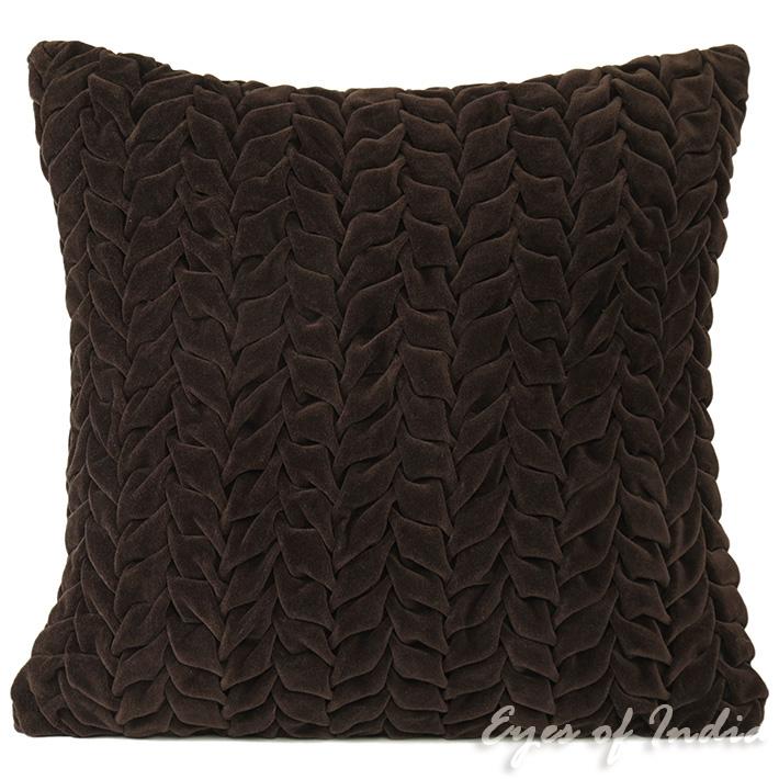 "Velvet Braided Colorful Decorative Sofa Throw Pillow Boho Bohemian Couch Cushion Cover - 16"""