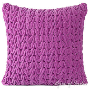 Velvet Zig Zag Braided Decorative Bohemian Throw Pillow Boho Cushion Cover - 16""