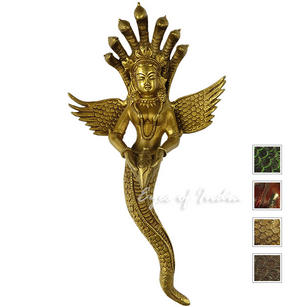 Naga Serpent Brass Wall Hanging Metal Boho Bohemian Sculpture Art - 13""