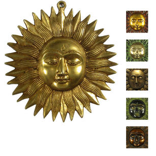 Sun Sculpture Metal Brass Boho Bohemian Wall Art Hanging - 6""