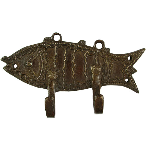 "Brass Fish Animal Wall Hooks Hangers Handmade Coat Key Rack - 6"""