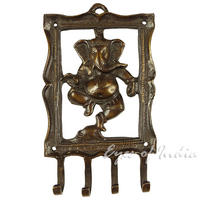 "Brass Ganesha Elephant Animal Wall Hooks Hangers Coat Handmade Key Rack - 6"" 1"